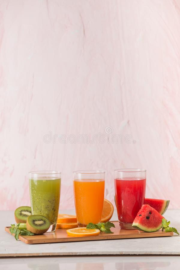 Assortment of fruit and vegetables juice in glass. Fresh organic ingredients, health or detox diet food concept stock photo