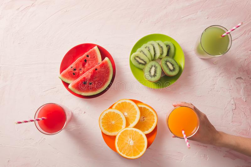 Assortment of fruit and vegetables juice in glass. Fresh organic ingredients, health or detox diet food concept stock photos