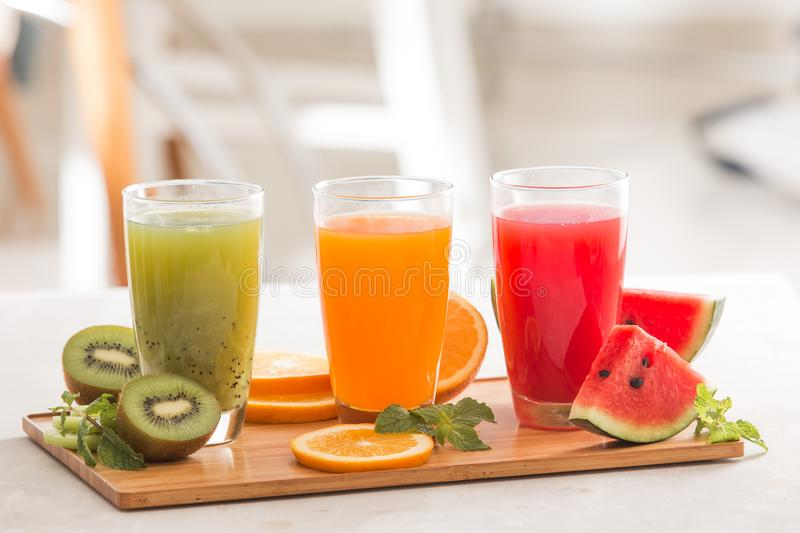 Assortment of fruit and vegetables juice in glass. Fresh organic ingredients, health or detox diet food concept stock photography