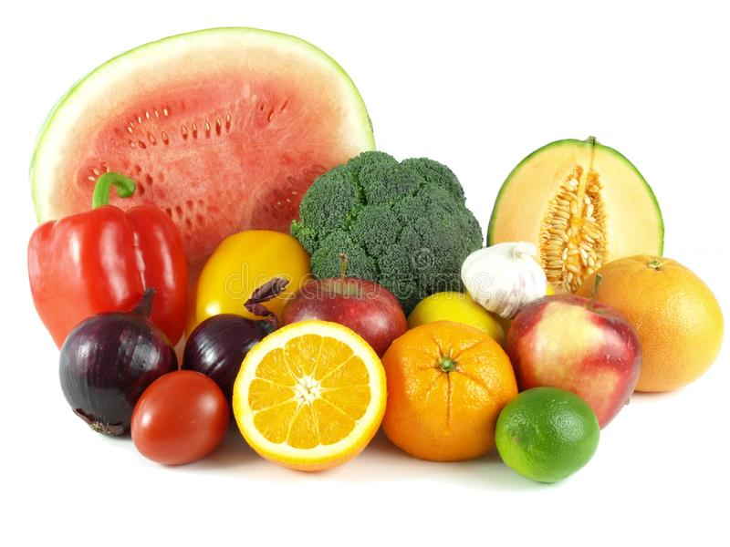 Assortment of fruits and vegetables stock images