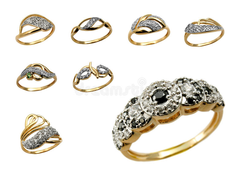 Assortment of Golden jewelry stock image