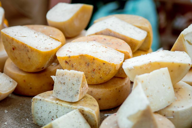 An assortment of hard cheeses. royalty free stock photography