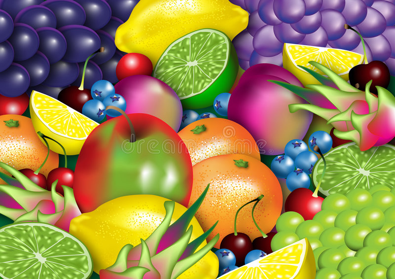 An assortment of healthy fruit royalty free illustration