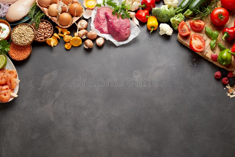 Rustic paleo harvest produce and ingredients stock image