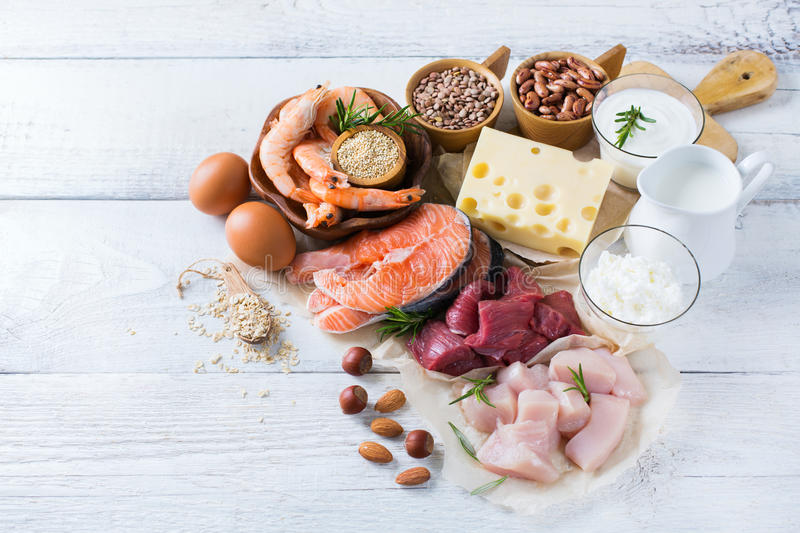 Assortment of healthy protein source and body building food stock photos