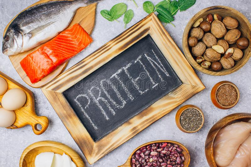 Assortment of healthy protein source and body building food royalty free stock images