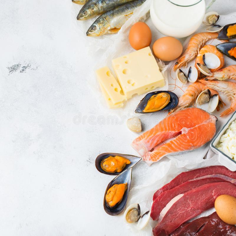 Assortment of healthy vitamin B12, cobalamin source food. Balanced diet nutrition, healthy eating concept. Food sources rich in vitamin B12, cobalamin on a royalty free stock image