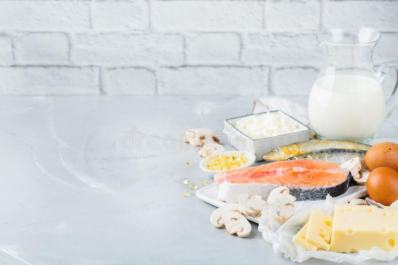Assortment of healthy vitamin d source food royalty free stock photos