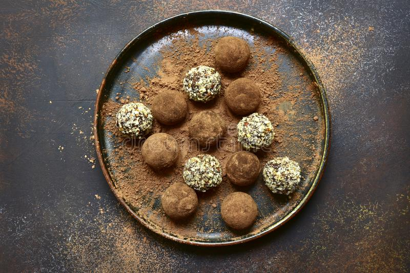 Assortment of homemade chocolate truffles.Top view. royalty free stock photography