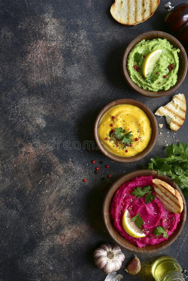 Assortment of hummus.Top view with copy space royalty free stock photography