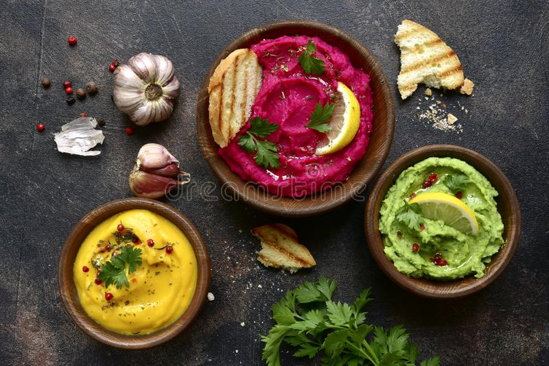 Assortment of hummus.Top view with copy space stock photo