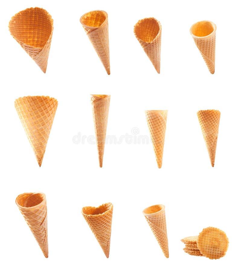 Assortment of icecream cones and cornets stock photos