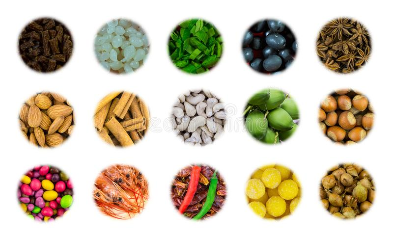 Assortment of icons group of nuts almond cashew appetizer for beer meat sausages pickled onion and dessert royalty free stock photos