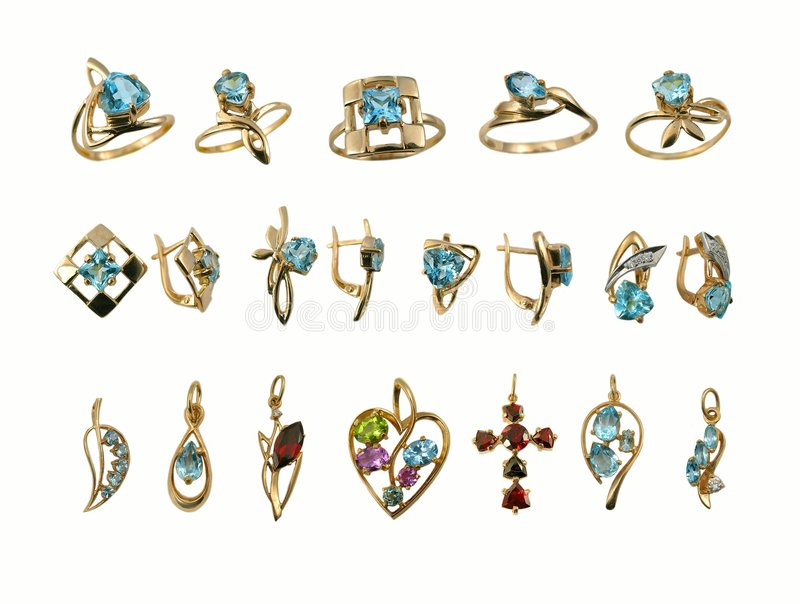 Assortment of Jewel. Saphires. Variety stylish golden jewelry with gems royalty free illustration