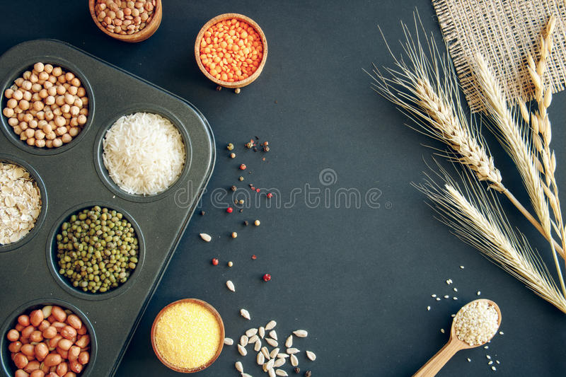 Assortment of legumes, grains and seeds. stock photo