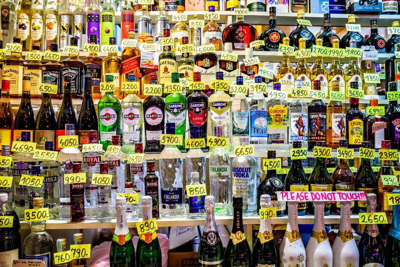 Assortment  of many kinds of alcohol in the Central Market Hall at Vámház krt stock image