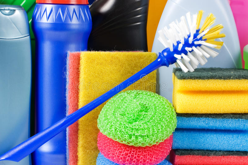 Assortment of means for cleaning stock photos