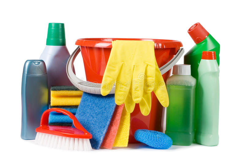Assortment of means for cleaning. Isolated stock images