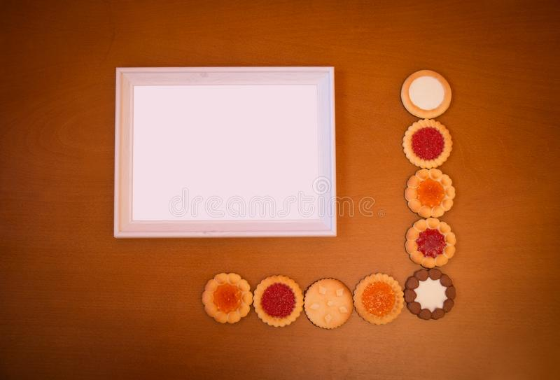 Assortment Of Mixed Biscuits And Empty White Frame Stock Image ...