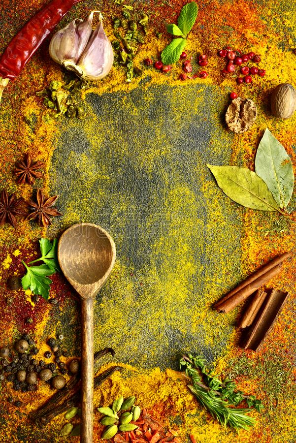 Assortment of natural spices.Top view with copy space stock image