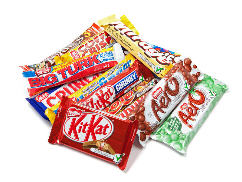 Assortment of Nestle Chocolate Products stock images