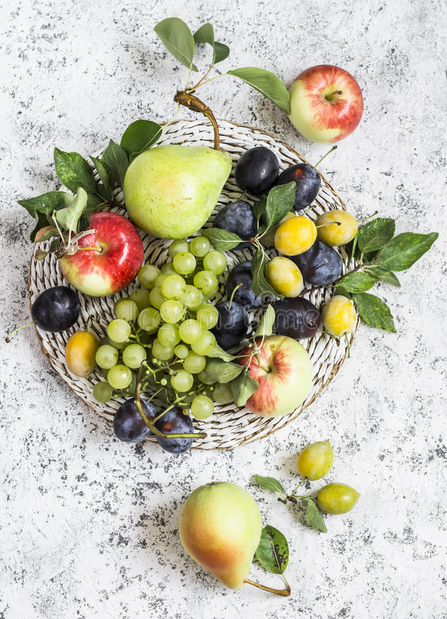 Free Assortment Of Fresh Fruit - Grapes, Pears, Apples, Plums On A Light Background Royalty Free Stock Photos - 76067588