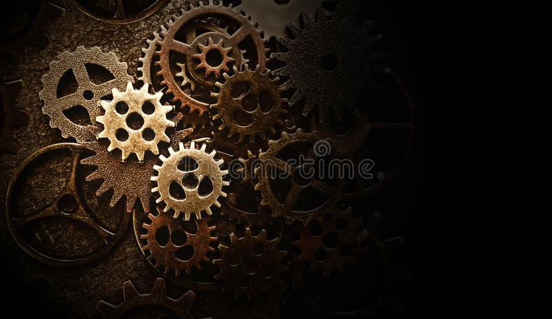Assorted old gears royalty free stock photos