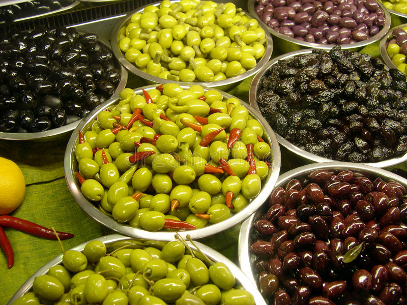 Assortment olives stock images