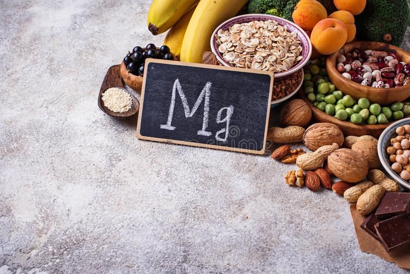 Assortment of food containing magnesium. Assortment of product containing magnesium. Healthy diet food stock images
