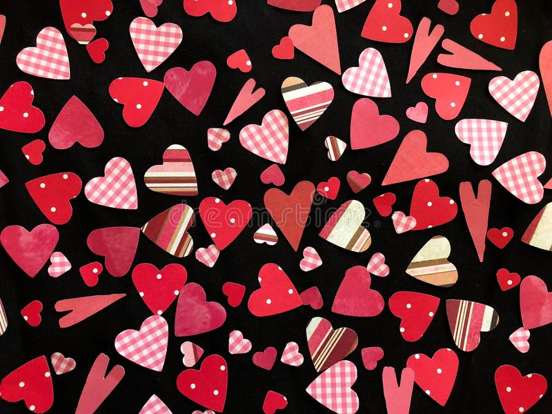 Assortment of Red and Pink Hearts royalty free stock images