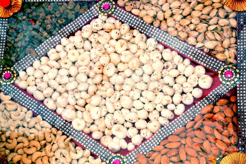 Assortment of tasty nuts, close up royalty free stock photos