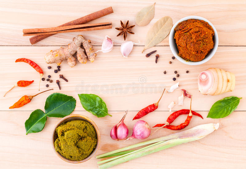 Assortment of Thai food Cooking ingredients and Paste of thai. Popular food red curry and green curry stock images