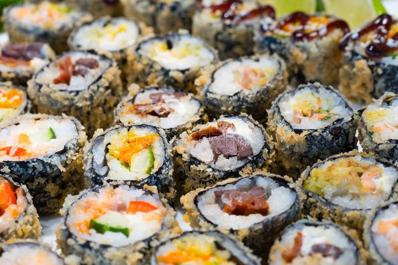 Sushi, japanese food background stock image