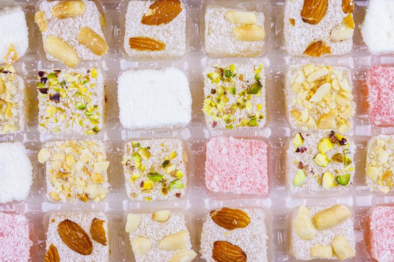 Assortment turkish delight in box close-up stock photo
