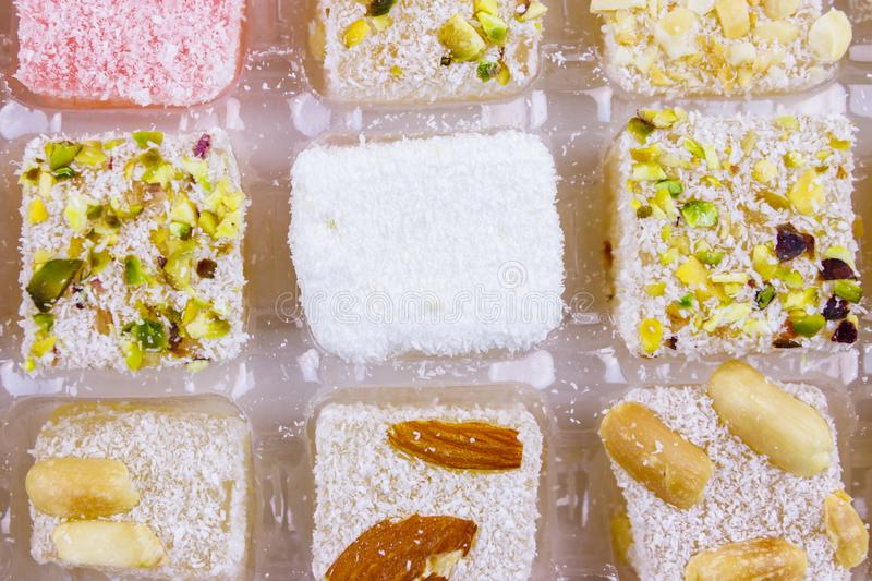Assortment turkish delight in box close-up. Assortment turkish delight in a box close-up stock image