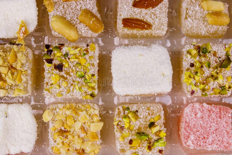 Assortment turkish delight in a box close-up. Assortment turkish delight in box close-up stock photos