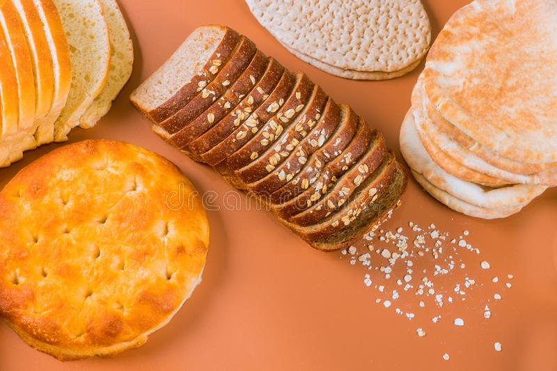 Assortment of variety of the bread with grains royalty free stock images