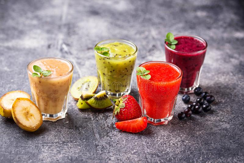 Assortment of various healthy smoothies. Selective focus stock images