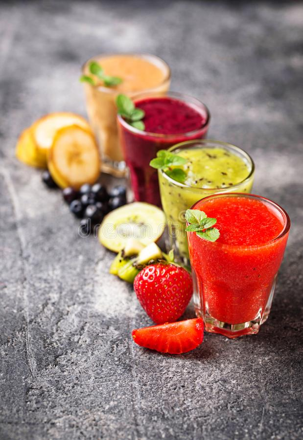 Assortment of various healthy smoothies. Selective focus stock photography