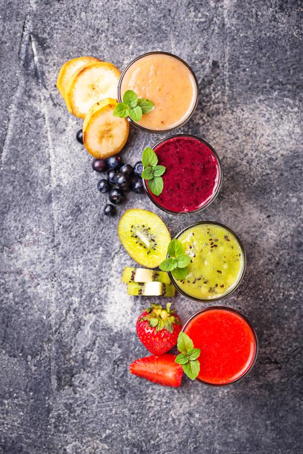 Assortment of various healthy smoothies. Top view royalty free stock image