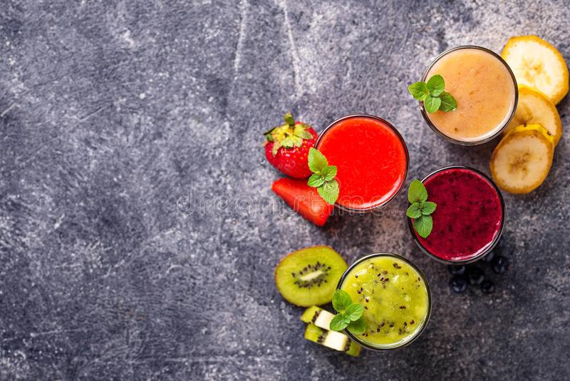 Assortment of various healthy smoothies. Top view royalty free stock photography