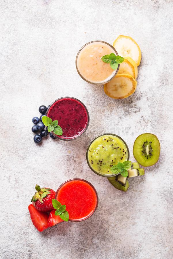 Assortment of various healthy smoothies. Top view stock photo
