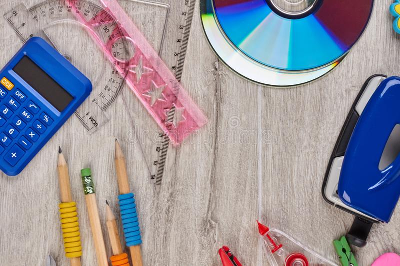 Assortment of various school items. royalty free stock photo