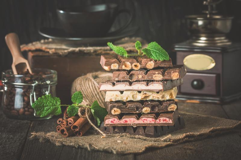 Download Assortment Of White, Dark, And Milk Chocolate Stock Image - Image of objects, coffee: 117636343