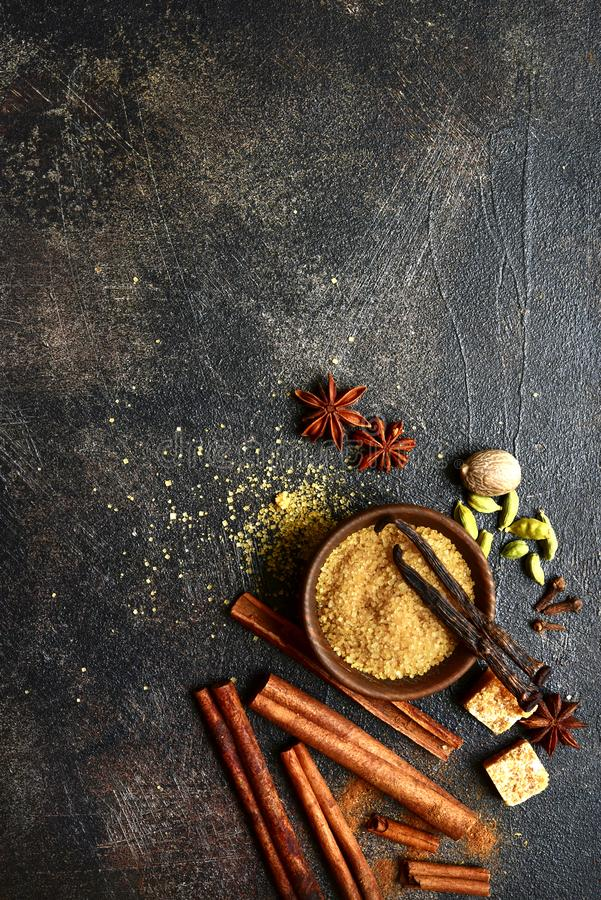 Assortment of winter spices.Top view with copy space stock photography