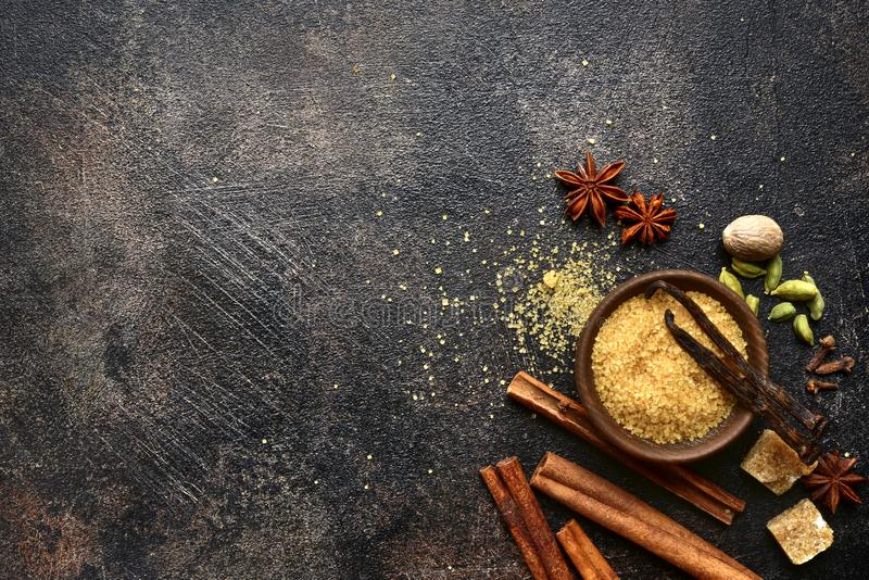 Assortment of winter spices.Top view with copy space stock photo