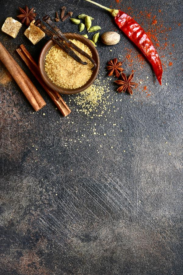 Assortment of winter spices.Top view with copy space stock images