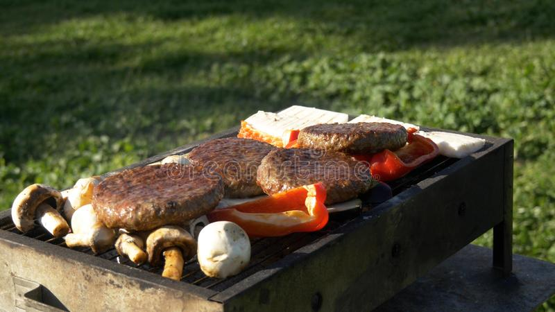 Assorty on grill at summer barbecue, cheese, vegetables, mushrooms and cuttlets stock image