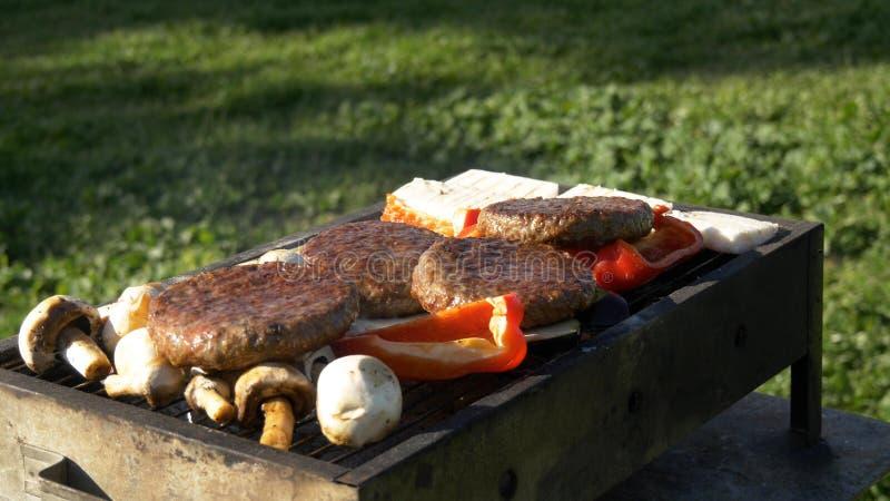 Assorty na grade no assado, no queijo, nos vegetais, nos cogumelos e nos cuttlets do verão imagem de stock