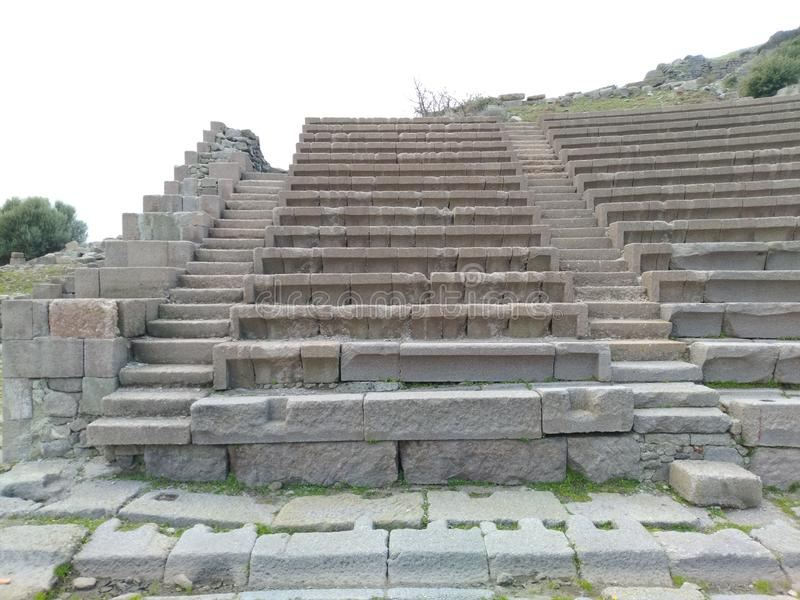 Assos Ancient City Theatre. It is located in Turkey nears Troy Ancient City. assos theatre road stock photo